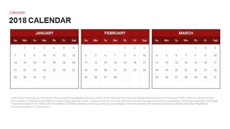 2018 Calendar Powerpoint and Keynote template