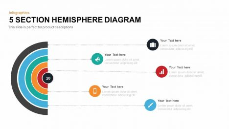 5 Section Hemisphere Diagram Template for PowerPoint and Keynote Slide Presentation