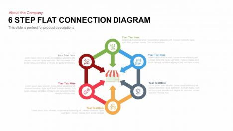 6 Step Flat Connection Diagram for PowerPoint and Keynote