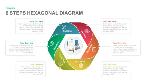 6 Steps Hexagonal Diagram PowerPoint and Keynote template
