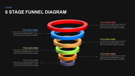 6 stage funnel diagram template for PowerPoint and keynote