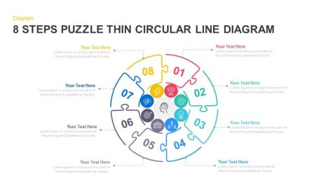 8 Steps Puzzle Thin Circular Line Diagram PowerPoint template