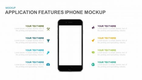 Application Features iPhone Mockup Powerpoint and Keynote template