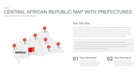 Central African Republic Map With prefectures Powerpoint and Keynote template