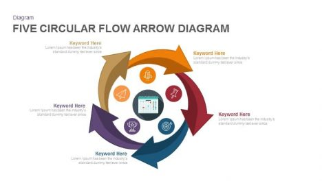 Five Circular Flow Arrow Diagram Powerpoint and Keynote Template