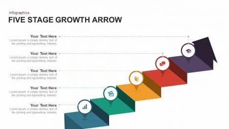 Five Stage Growth Arrow Powerpoint and Keynote template