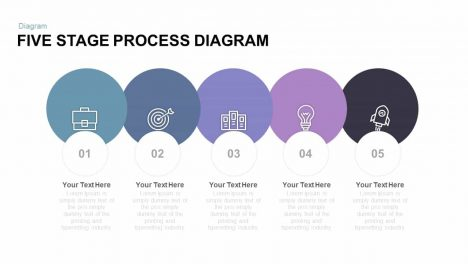 Five Stage Process Diagram Free PowerPoint Template And Keynote Template