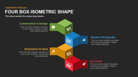 Four Box Isometric Shape Powerpoint Keynote template