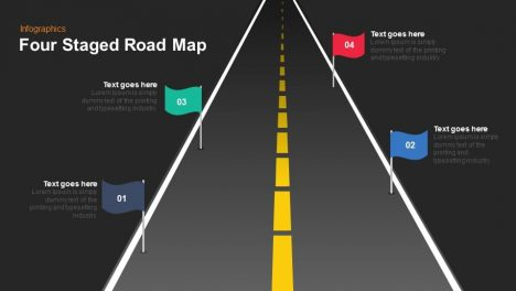 Four Staged Road Map Keynote Powerpoint