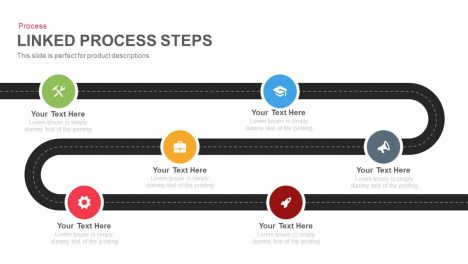 Linked Process Steps Powerpoint and Keynote template