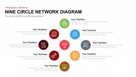 Nine Circle Network Diagram PowerPoint Template and Keynote Slide