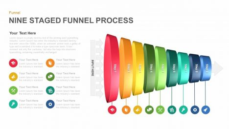 Nine Staged Funnel Process Powerpoint template