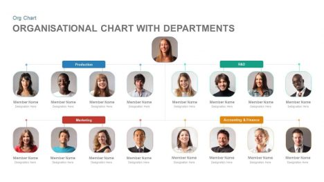 Organizational Chart PowerPoint Template with Departments and Keynote Slide