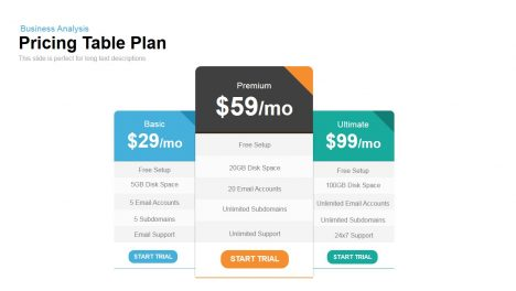 Pricing Table Plan Powerpoint Keynote template