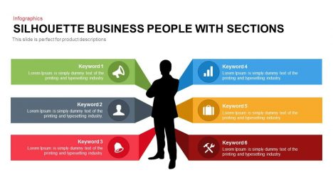 Business People Silhouette with Sections Template for PowerPoint and Keynote Presentation