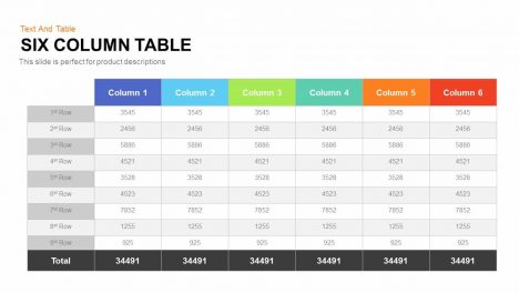 Six Column Table PowerPoint Template and Keynote Slide