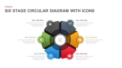 Six Stage Circular Diagrams with Icons PowerPoint and Keynote template
