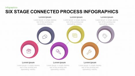 Six Stage Connected Process Infographic Template