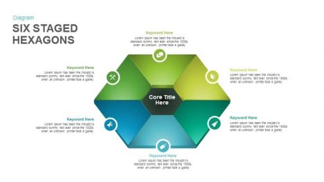 Six Staged Hexagon Powerpoint and Keynote Template