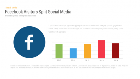 Social Media Facebook Visitors Chart PowerPoint and keynote slide