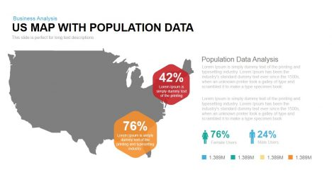 US Map With Population Data Powerpoint Keynote template