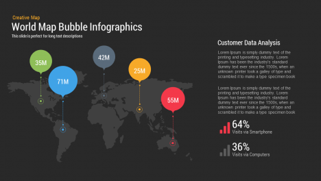 World Map Bubble Infographics powerpoint and keynote slide