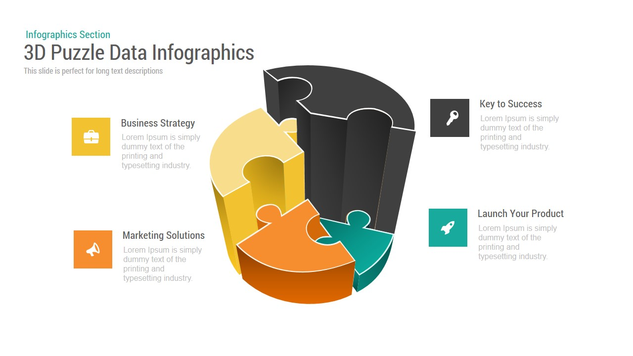 3D Puzzle Data Infographics Powerpoint and Keynote template