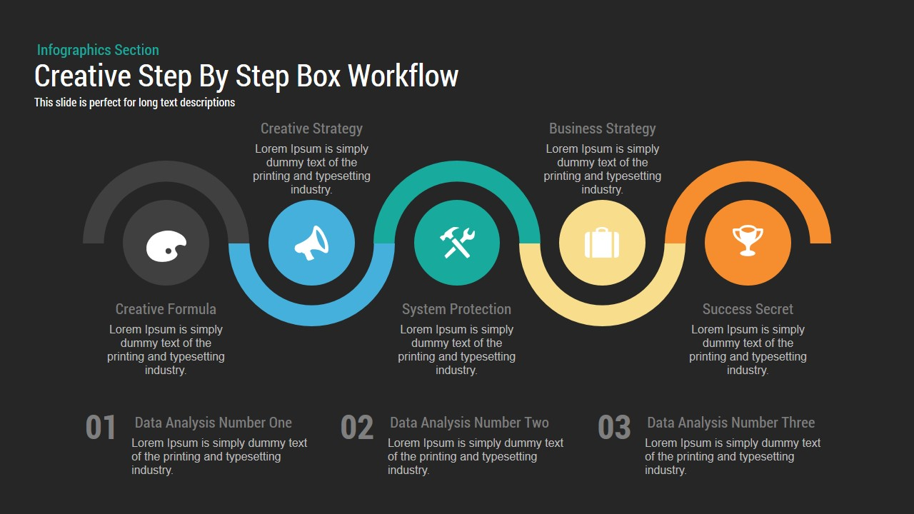 Creative Step By Step Box Workflow Powerpoint and Keynote template