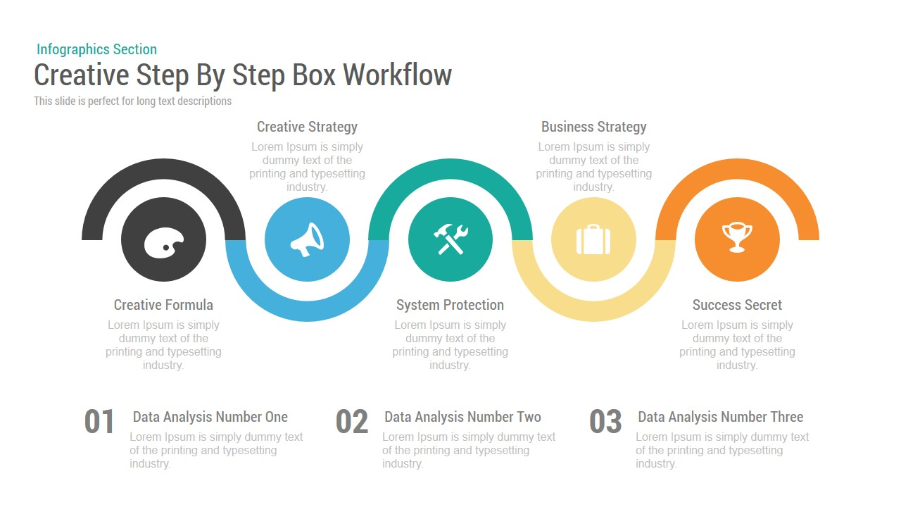 creative stepstep box workflow powerpoint keynote template, Presentation templates
