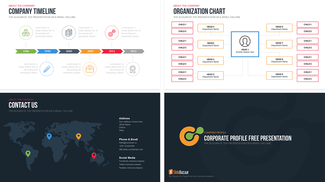 Company Profile Free PowerPoint Template  Profile Templates