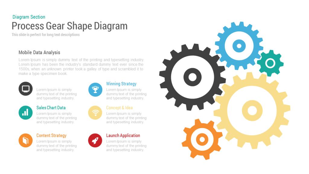 Process Gear Shape Diagram Powerpoint Keynote Template