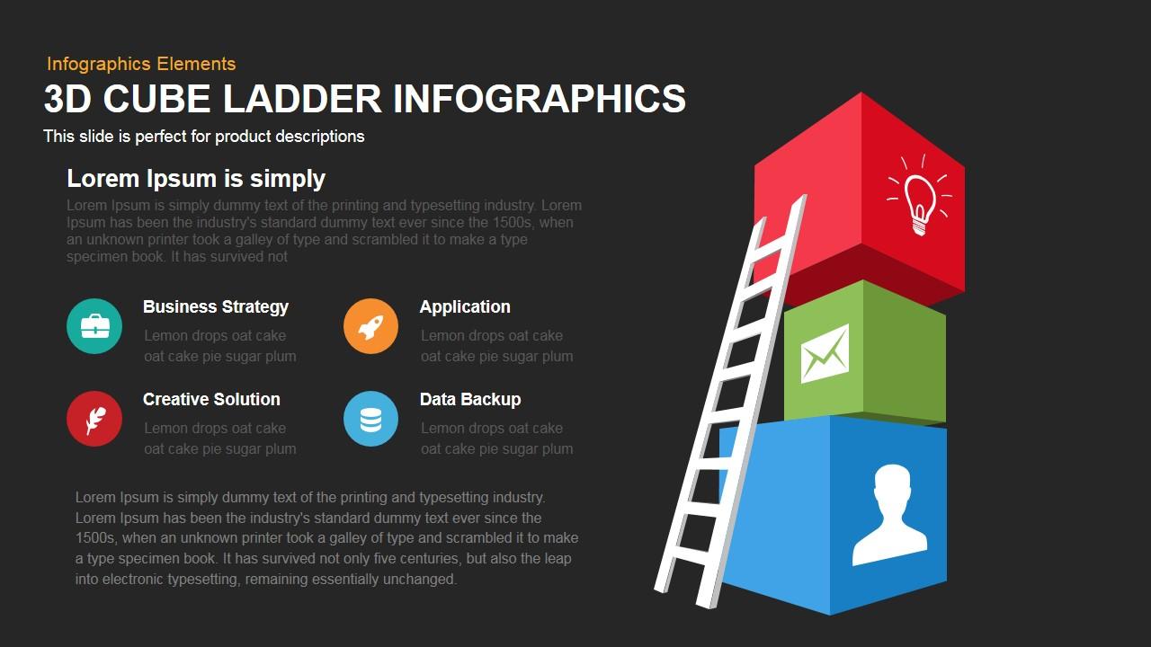 3d cube ladder infographics powerpoint keynote template | slidebazaar, Modern powerpoint