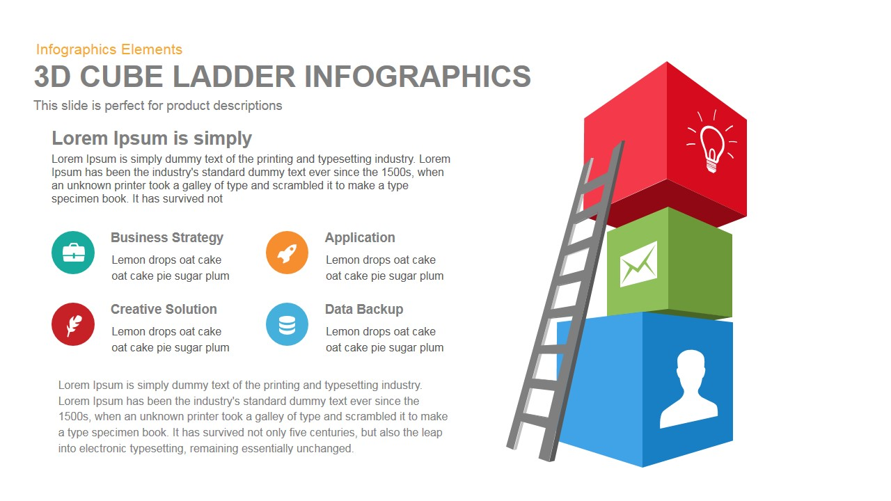 3d cube ladder infographics powerpoint template and keynote