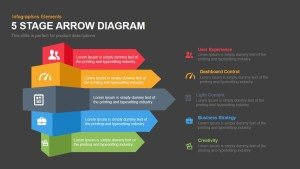 5 Stage Arrow Diagram Template for PowerPoint and Keynote