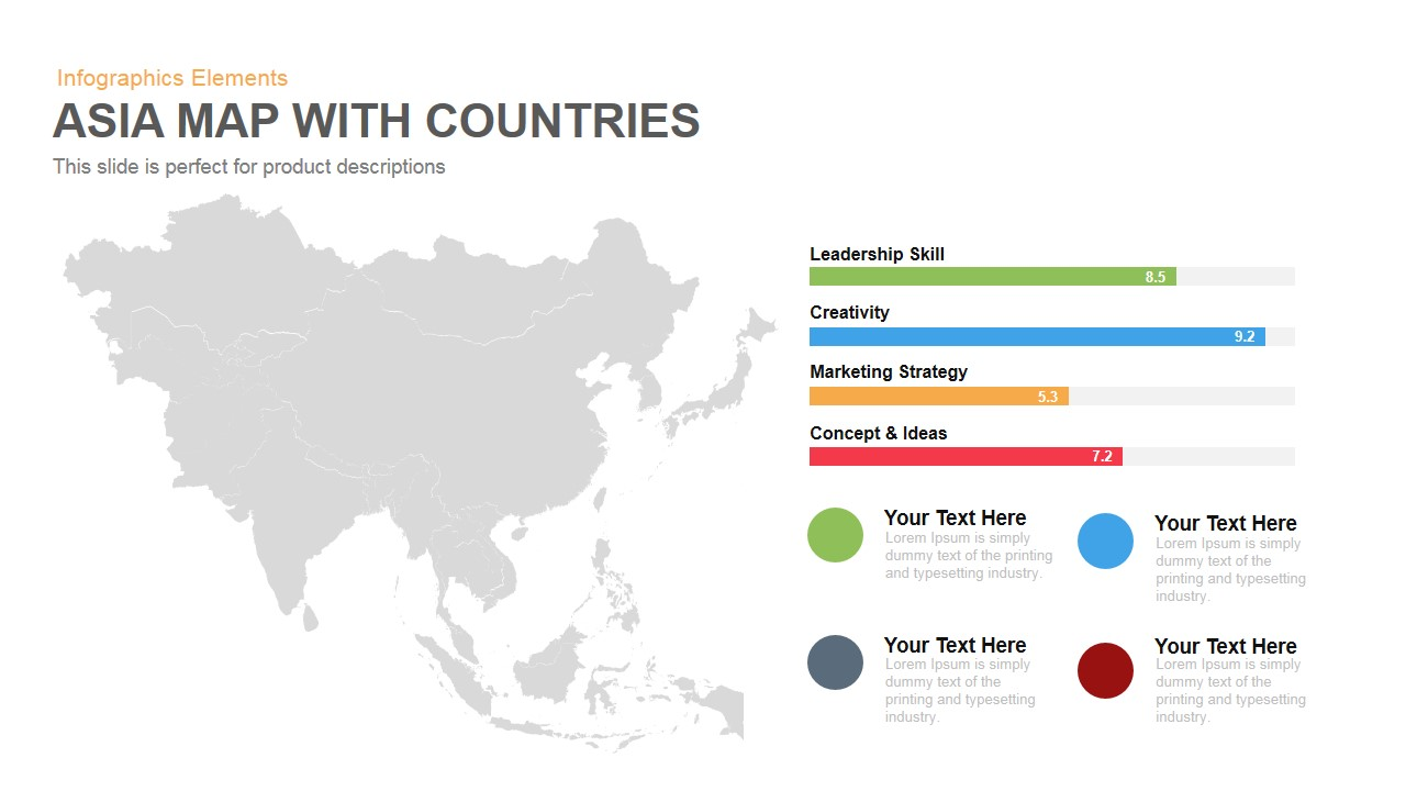 Asia Map With Countries Powerpoint Keynote template