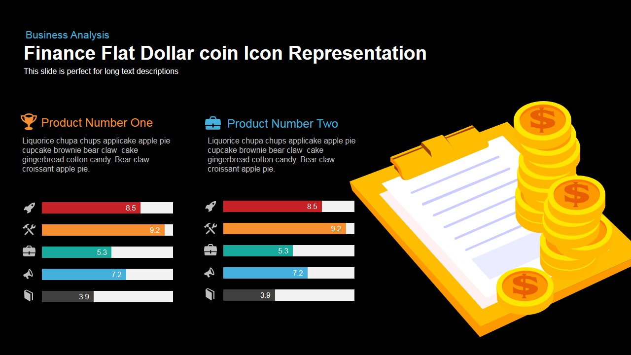 Finance Flat Dollar Coin Icon Representation Point And Keynote Template
