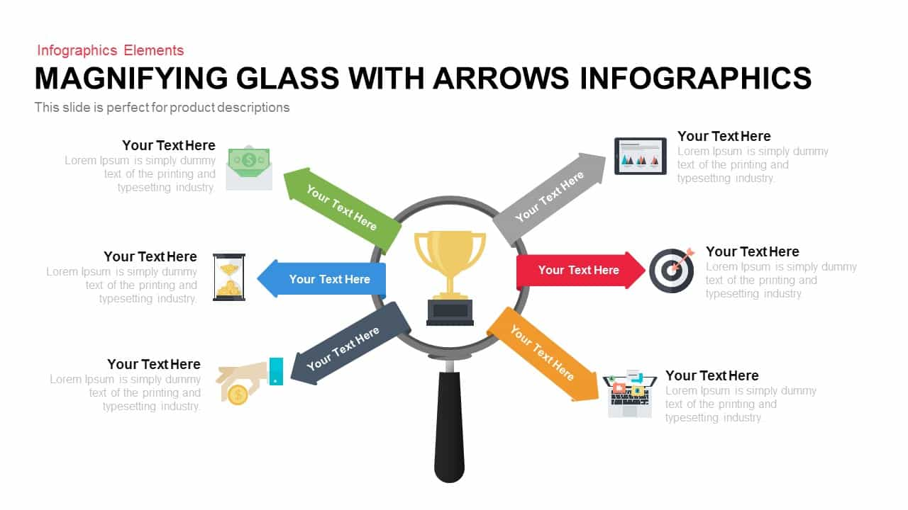 Magnifying Glass With Arrows Infographics