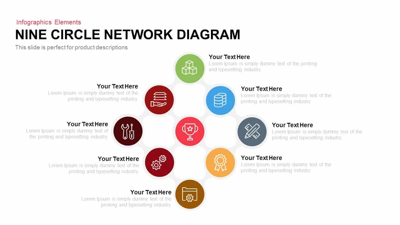 nine circle network diagram powerpoint keynote | slidebazaar, Modern powerpoint