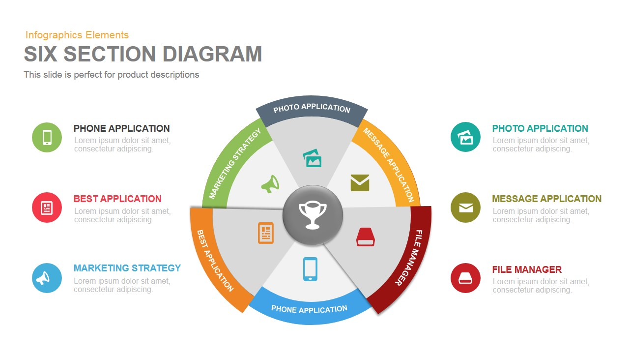 Six-Section Diagram PowerPoint Template and Keynote Presentation Slide