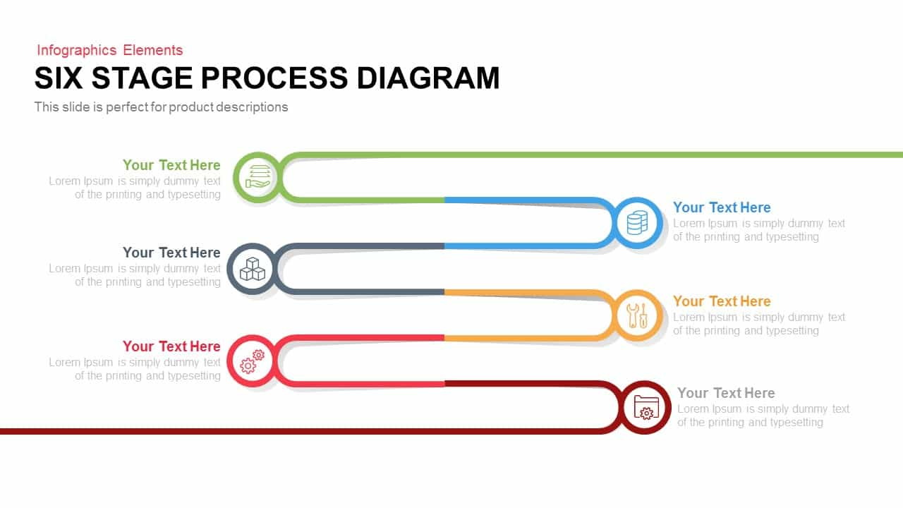 6 Stage Process Diagram PowerPoint Template