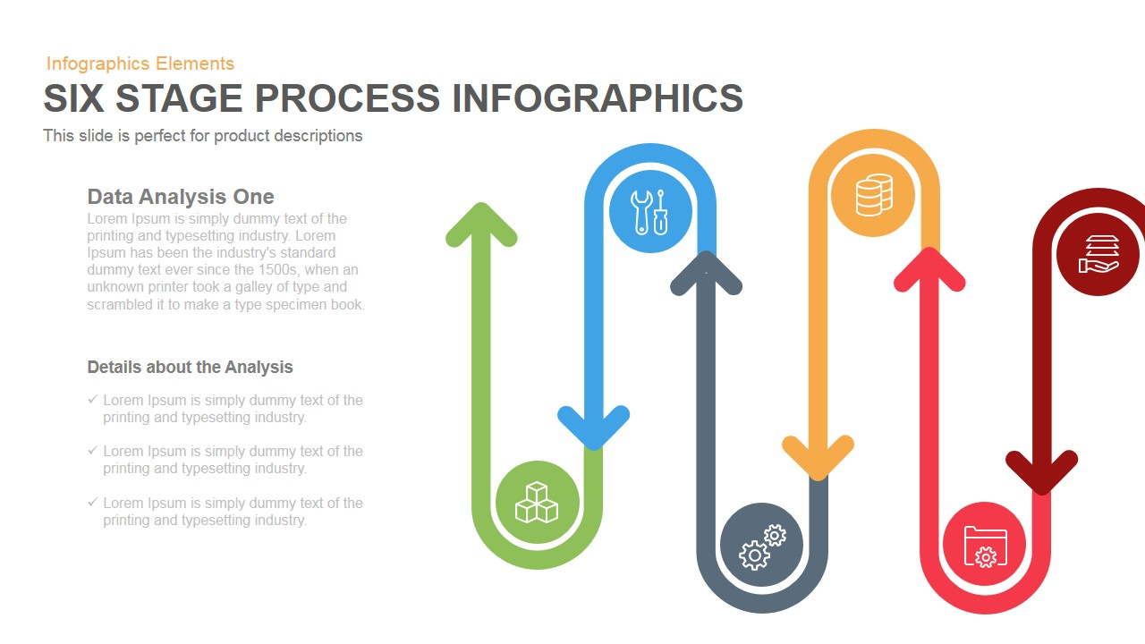 6 stage process PowerPoint template and keynote