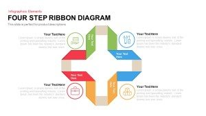 Four Step Ribbon Diagram Template for PowerPoint and Keynote Slide