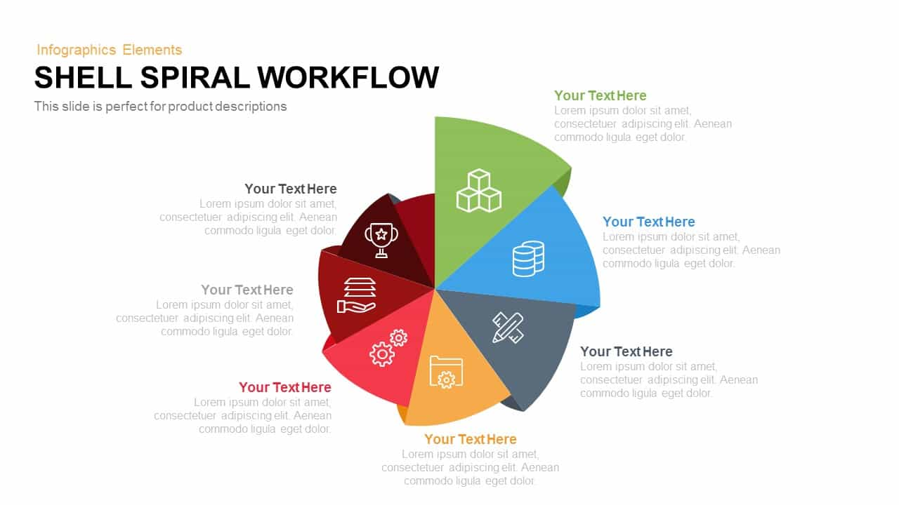 Shell Spiral Workflow PowerPoint Template and Keynote Slide