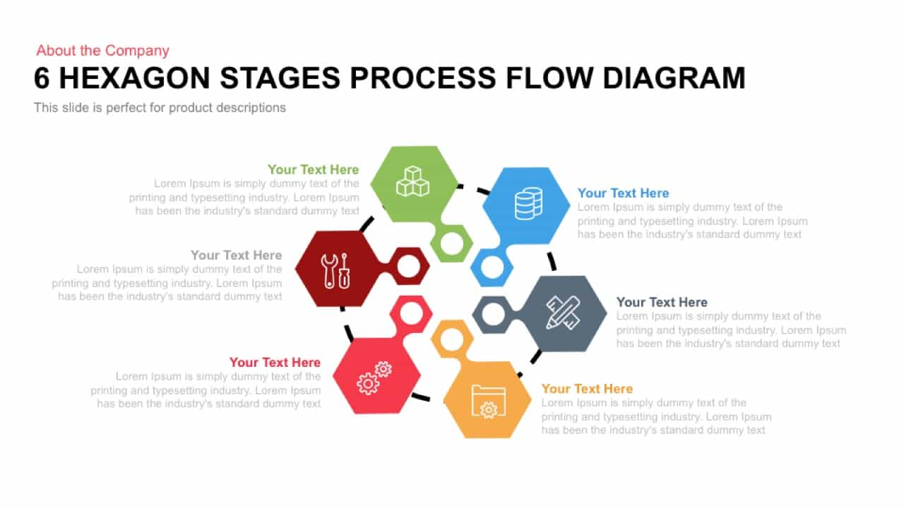 6 Hexagon Stages Process Flow Diagram