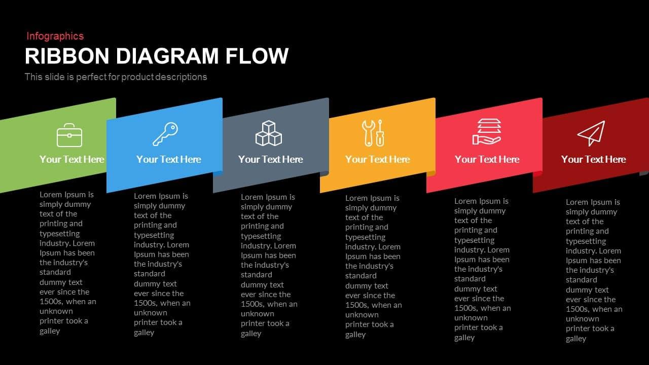 Ribbon Diagram Flow Powerpoint Keynote template