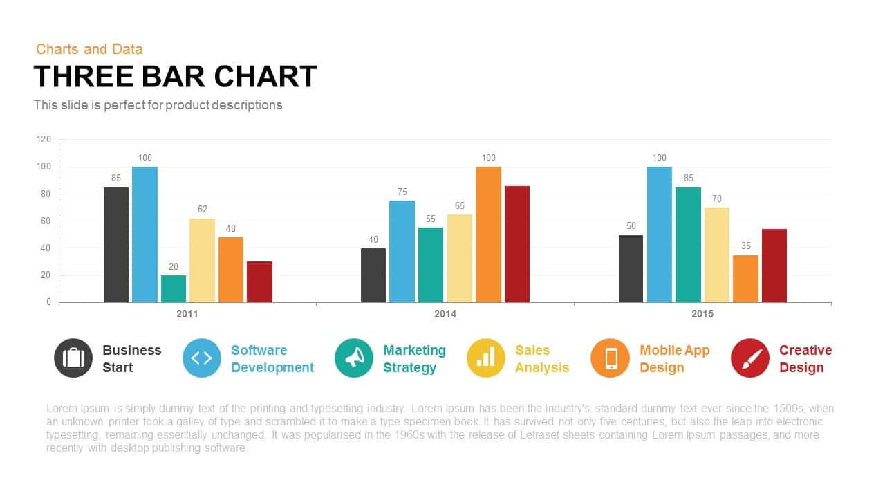 Three Bar Chart Powerpoint and Keynote template