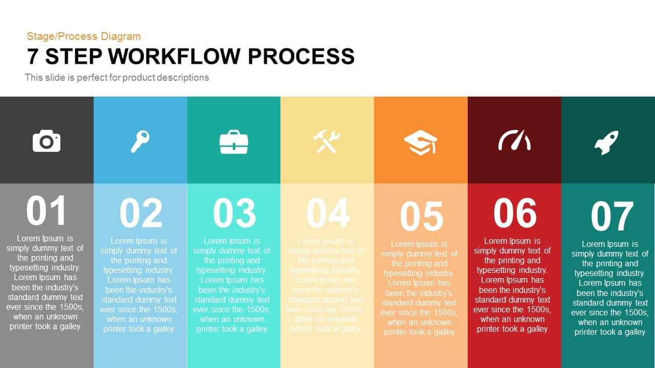 7 step workflow process powerpoint keynote template | slidebazaar, Presentation templates