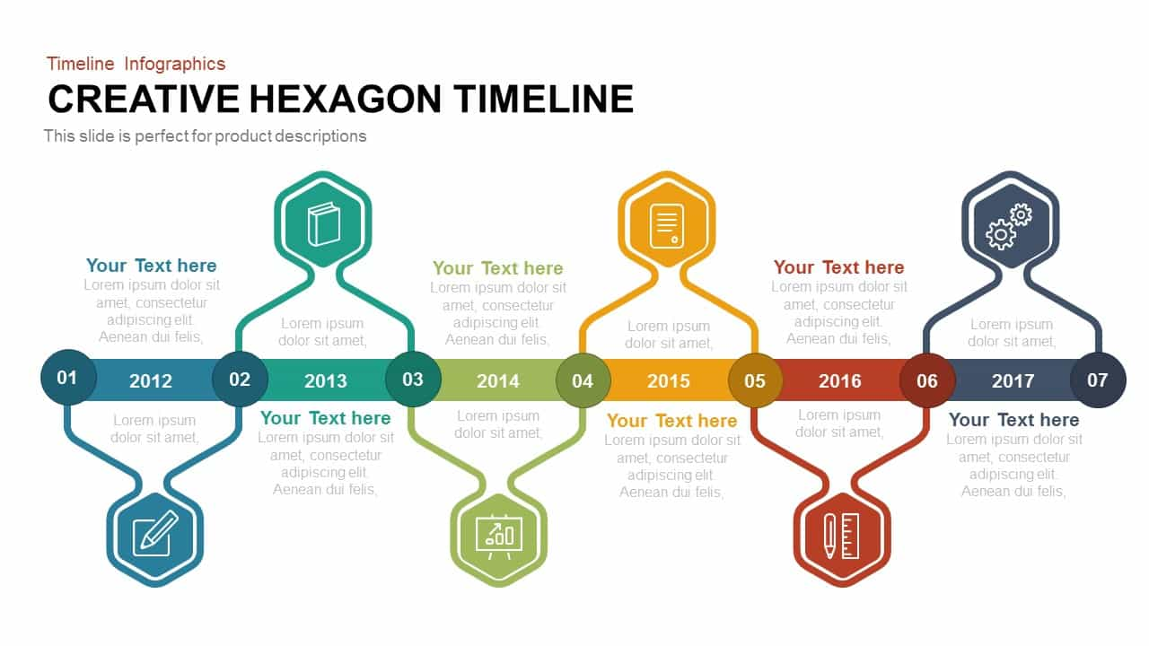 Creative hexagon timeline powerpoint and keynote slidebazaar creative hexagon timeline toneelgroepblik Choice Image