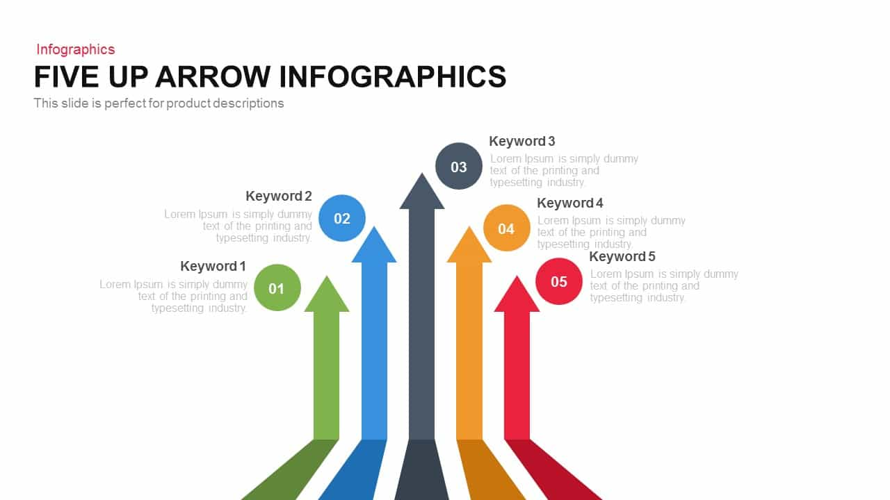 5 Up Infographic Arrow PowerPoint Template and Keynote