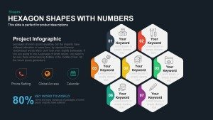Hexagon Shape Template with Numbers PowerPoint and Keynote Slide